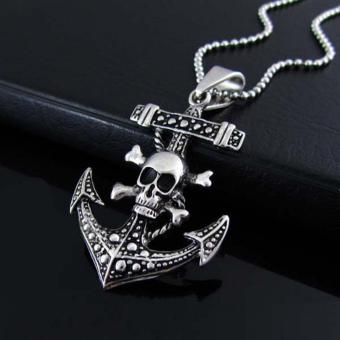 Wawawei Men's Skull Anchor Stainless Steel Pendant Necklace - 4