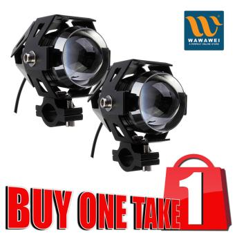 Wawawei U5 LED Motorcycle Head Light Driving Spot Fog Lamp 125W3000LM Buy 1 Take 1 (Black)