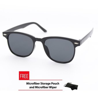 Wayfarer OverSized Square Sunglasses Flash Lenses Black Flash_721 Straight Design_Women