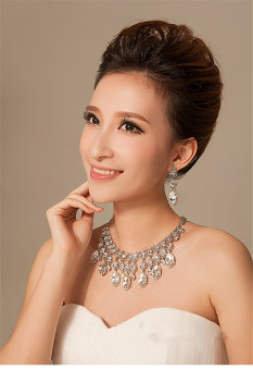 Wedding Bridal Prom Jewelry Set Rhinestone Pendant Necklace Earrings