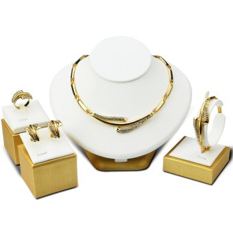 Wedding Jewelry Sets Engraving Diamond Necklace Ring Bracelet Earrings Four-piece Accessories For Women ACC05 (Gold)