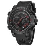 WEIDE Men's Waterproof Multifunction LCD Large Dial Quartz Watch Leather Band Wristwatch - intl