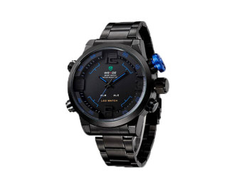WEIDE Mens Dual Time Display Sports Wrist Watches(Black&Blue)