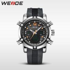 WEIDE WH 3401 Men Luxury Genuine Leather Strap Quartz Digital LCD Back Light .