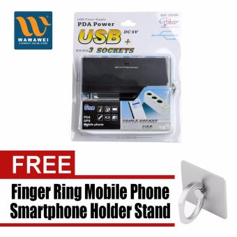 WF-0096 3 Way Portable USB Power Supply PDA Power DC 5V - DC12V(black) with free Finger Ring Mobile Phone Smartphone Holder Standfor iPhone (Silver)