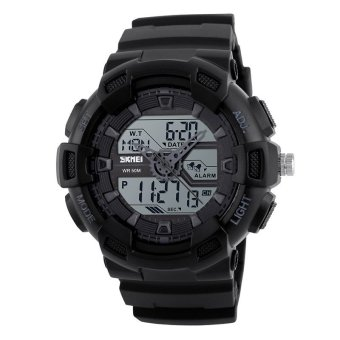 Wholesale SKMEI Shock Sports Watches Men Chronograph Digital LED Watch 50M Water Resistant Dual Display Wristwatches 1189 - intl