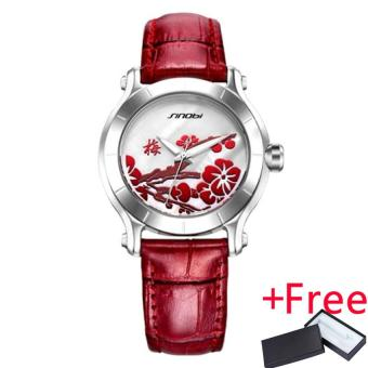 Wholesaler SINOBI 9632 New Chinese Women Watches For Plum FlowerRed Leather Fashion Wristwatches Clock Mother's Day - intl