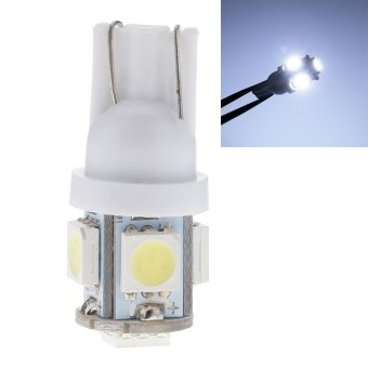 Whyus-New Arrival 10pcs T10 5050 5-SMD Creative LED Auto Car Wedge Lights Side Bulbs Lamp W5W 2825 158 192 168 194 White - intl