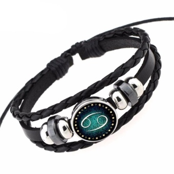 Whyus-Unisex Black Leather Wrist Bracelets Braided 12 Constellation Adjustable Couple Gifts (Cancer) - intl