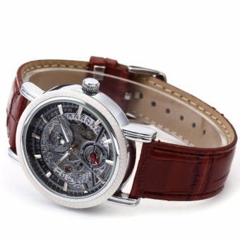WINNER Classic Mens Skeleton Dial Automatic Mechanical Date Retro Brown Leather Watch PMW044 - intl - 5