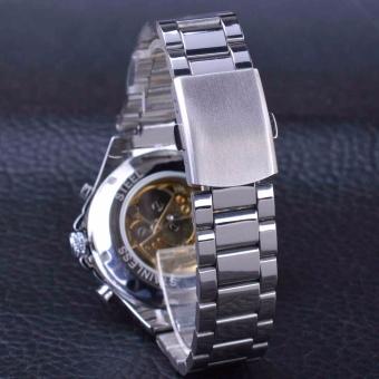 Winner Classic Series Golden Movement Inside Silver Stainless SteelMens Skeleton Watch Top Brand Luxury Fashion Automatic Watch - intl - 5