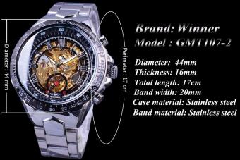 Winner Classic Series Golden Movement Inside Silver Stainless SteelMens Skeleton Watch Top Brand Luxury Fashion Automatic Watch - intl - 3