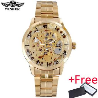 WINNER famous brand men watches luxury mechanical skeleton watchesskeleton stainless steel band gold dials relogio masculino Price Philippines