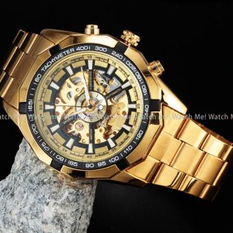 Winner / Forsining Men's Hollow Engraving Automatic Skeleton Stainless Steel Watch