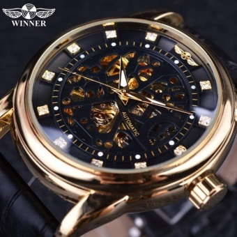 WINNER Men Black Skeleton Dial Automatic Mechanical SilverStainless Steel Watch - intl