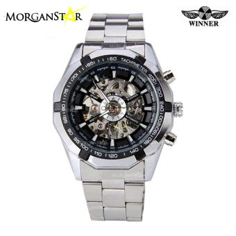 WINNER Men Skeleton Dial Automatic Mechanical Stainless Steel Watch (Black) Price Philippines