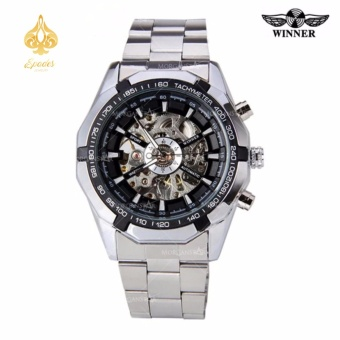 WINNER Men Skeleton Dial Automatic Mechanical Stainless Steel Watch(Black) Price Philippines