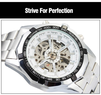 WINNER Men Skeleton Dial Automatic Mechanical Stainless Steel Watch(White) - 5