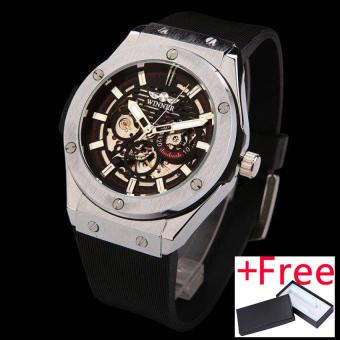 WINNER watches men luxury brand sports casual military clockwristwatches automatic wind mechanical skeleton watch rubber strap