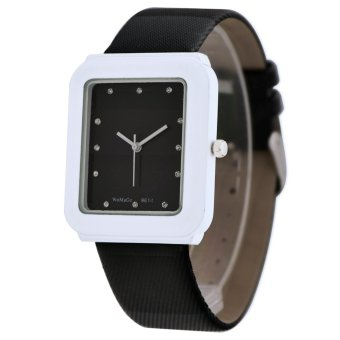 Womage New Sale Casual Women Blue Leather Strap Quartz Diamond Square Watch(Black)