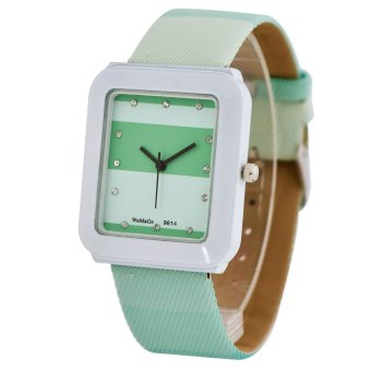 Womage New Sale Casual Women Blue Leather Strap Quartz Diamond Square Watch(grey)