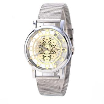 Woman Ladies Phoenix Automatic Mechanical Hollow-out Stainless Steel Wrist Watch Silver