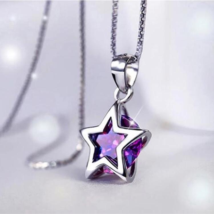 Women 925 Sterling Silver Zircon Star Crystal Pendant Necklace Chain Jewelry NEW intl