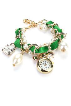 Women Artificial Pearl Bowknot Bracelet Wrist Watch - Green