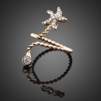 Women Beauty Golden Rhinestone Starfish Spiral Opening Joint Ring (Intl)