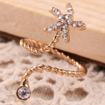 Women Beauty Golden Rhinestone Starfish Spiral Opening Joint Ring (Intl) - picture 2