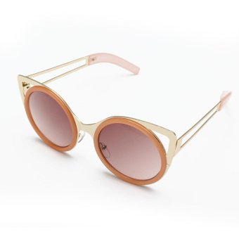 Women Cat Eye Ear Shade Metal Lens Reflective Sunglasses - picture 2