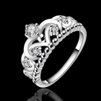 Women Crown Crystal Ring Rhinestone Princess Ring - intl
