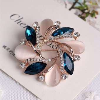 Women Diamond Crystal Bauhinia Shape Brooch Dress Decorative Pin - intl
