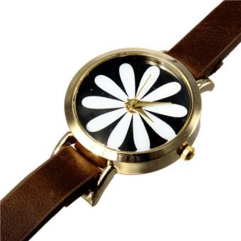 Women Flower Brown Faux Leather Wrist Watch - picture 2