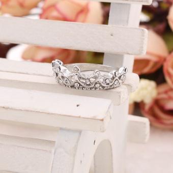 Women Jewelry Gift Silver Tone Crystal Rhinestone Queen Crown RingSize 5 6 7 8 - intl - 4
