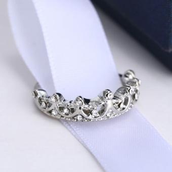Women Jewelry Gift Silver Tone Crystal Rhinestone Queen Crown RingSize 5 6 7 8 - intl - 5