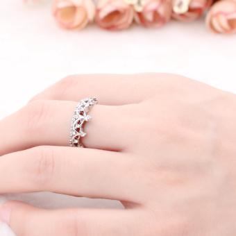 Women Jewelry Gift Silver Tone Crystal Rhinestone Queen Crown RingSize 5 6 7 8 - intl - 2