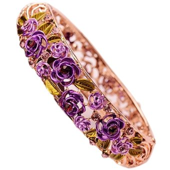 Women Ladies Girls Floral Hallow Rhinestone Bracelet Bangles Valentine's Day Birthday Christmas Gift Purple (Intl) - picture 2
