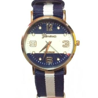 Women Men Geneva Fabric Nylon Canvas Band Military Dial Quartz Wrist Watch Blue