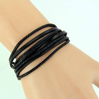 Women Men Girl Wrap Multilayer Genuine Leather Bracelet Braided rope Jewelry Black