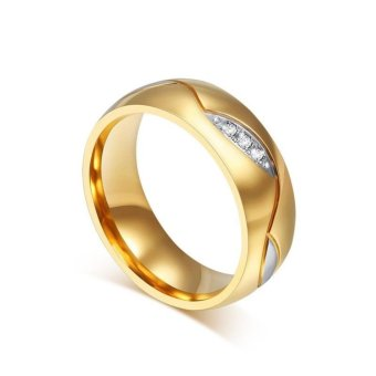 Women Men Wedding Couples Rings For Love 21K Gold Plated CZStainless Steel Ring - intl