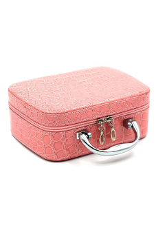 Women PU Crocodile Makeup bag box Cosmetic bag handbag totel Pink