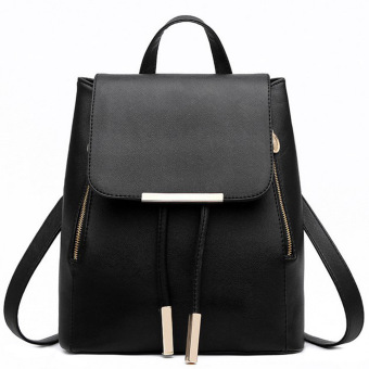 Women PU Leather Backpack School Bag Backpack Travel Bag(Black) Price Philippines