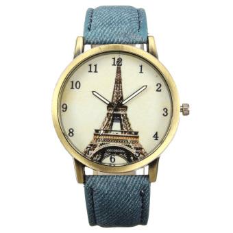 Women Retro Unique Leather Watchband Quartz Wristwatch Blue