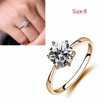 Women Simulated Diamond Wedding Rings Crystal Finger Rings(Gold) - intl