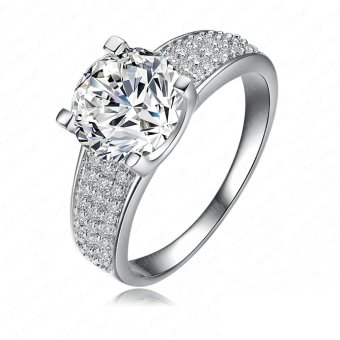 Women Wedding Ring Engagement Platinum Plated Ziron Ring