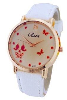 Women White Leather Strap Watch