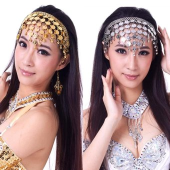 Women's Costume Dancing Sequins Hair Band Belly Dance Accessories(Gold) - intl