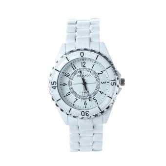 Women's Imitation Ceramic Quartz Analog Sports Wrist Watch (White) - 2