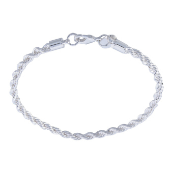 Womens Jewelry Twisted Rope Charm Chain Bangle Bracelet(Silver)